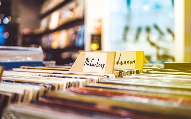 album records in a store