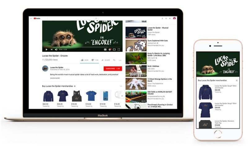 youtube merchandise shelf