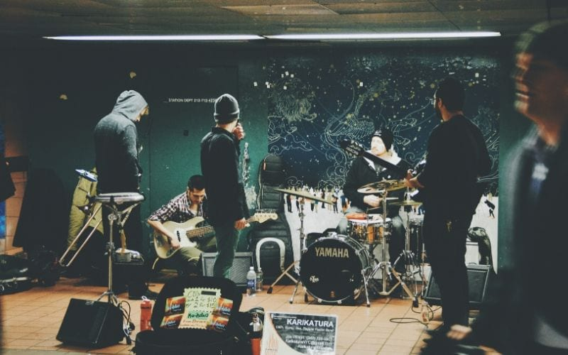 a band rehearsing music