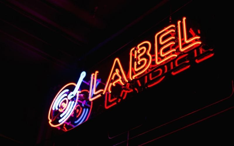 record label neon sign