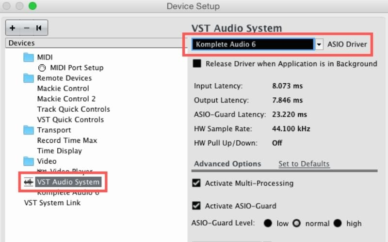 VST audio system options cubase