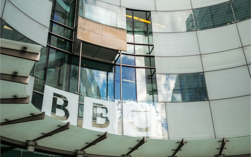 low angle view of the facade to the new entrance of the BBC Headquarters, Broadcasting House, in Portland Place and Langham  Place, London.