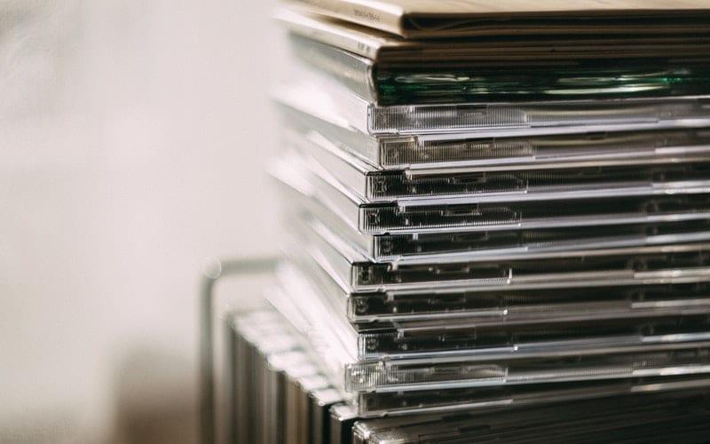 Stack of CDs sent to BBC radio 6 music