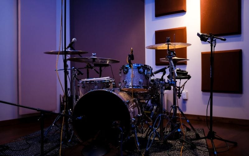 Drum kit in studio for drum loops