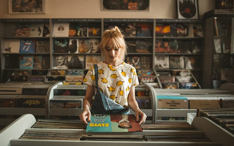 woman in record shop