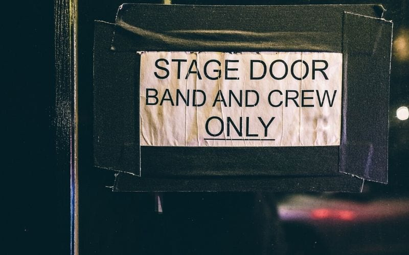 stage door band and crew only sign tour