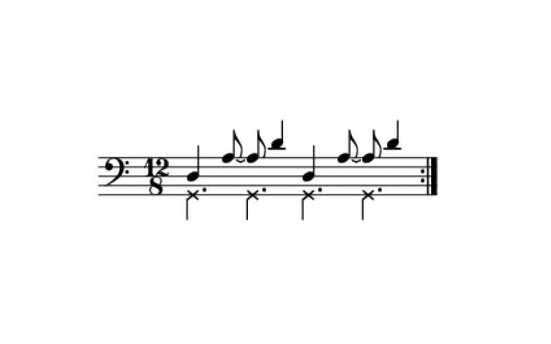 6 cross beats per measure of 12/8