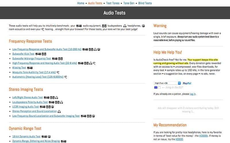 Audio Tests app