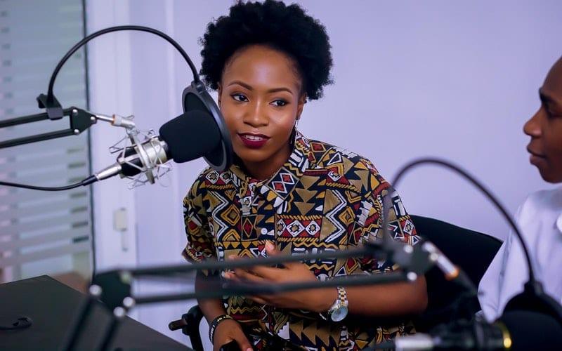 radio show host in music studio