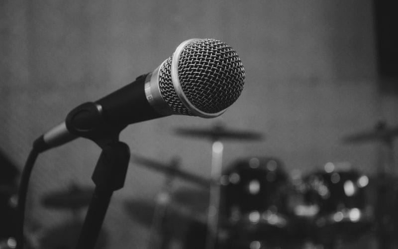 black and white microphone recording mono audio