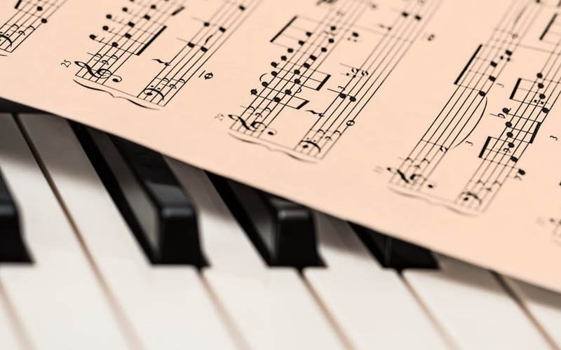 Piano keys with sheet music placed on top