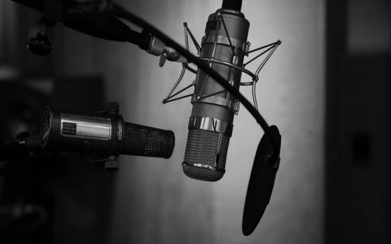 Radio Studio Microphone, black and white