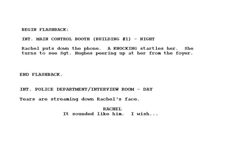 flashback in film script