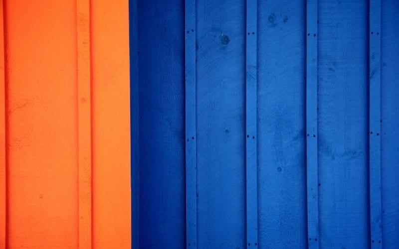 blue and orange fence