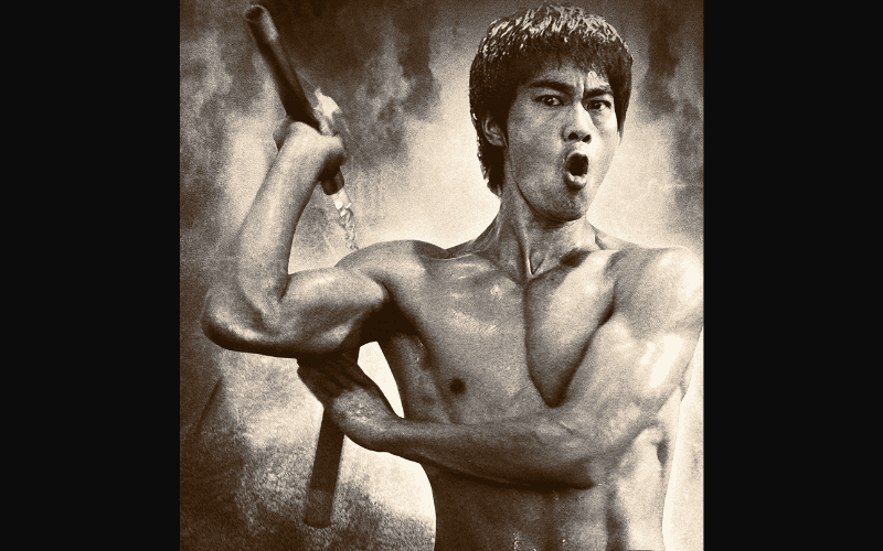 bruce lee with weapon