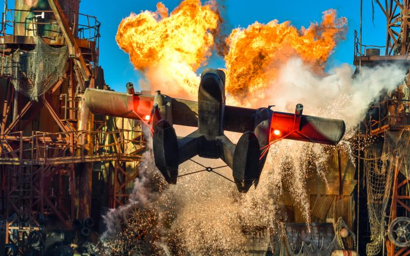film set explosion plane