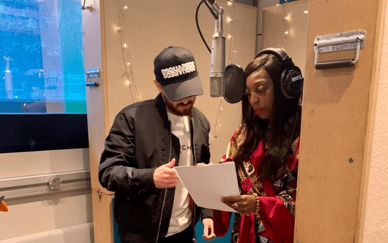 jack and fiona in music studio recording