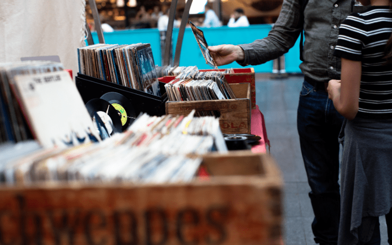 music distribution in a shop