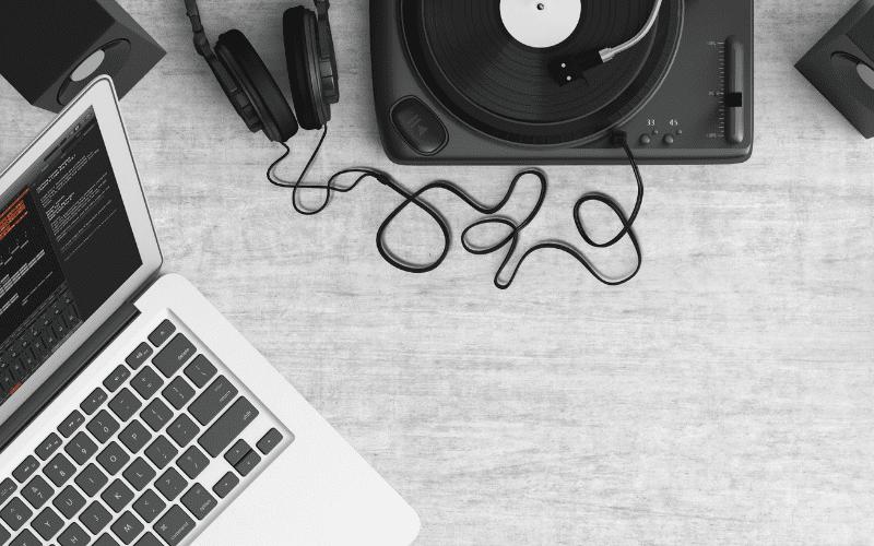 laptop and vinyl