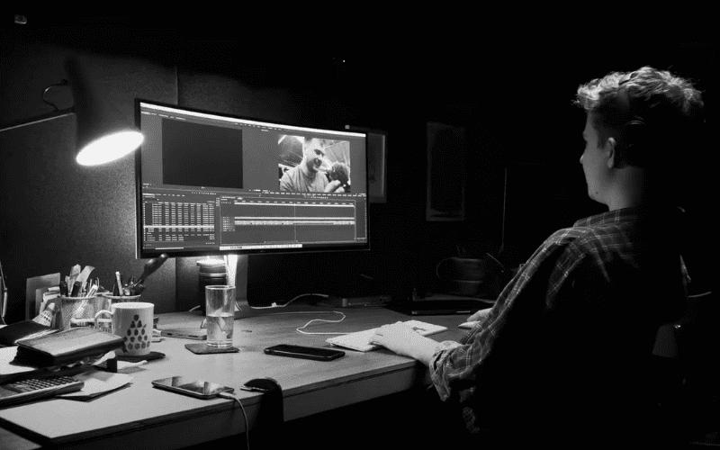 man producing music