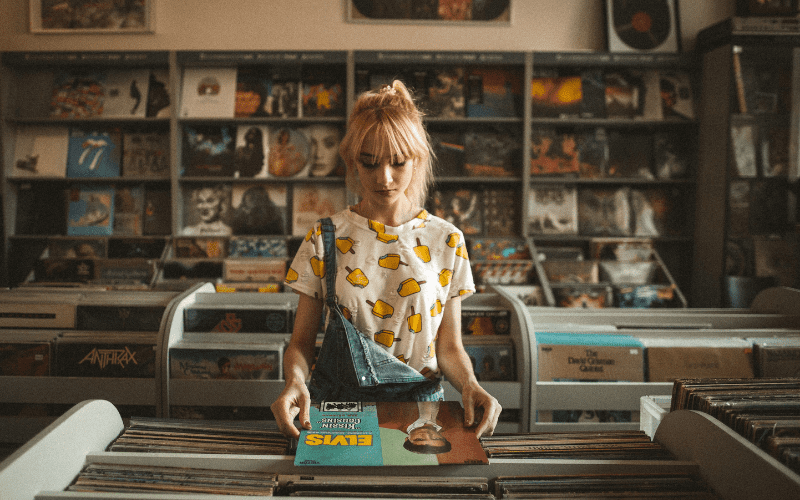 girl in music shop