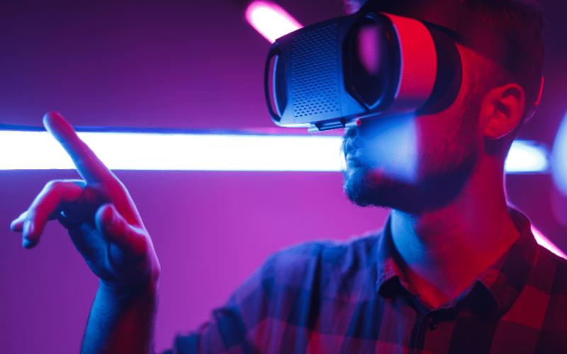 man watching VR