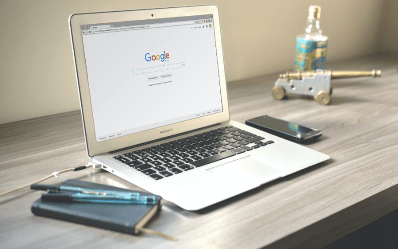 google on laptop