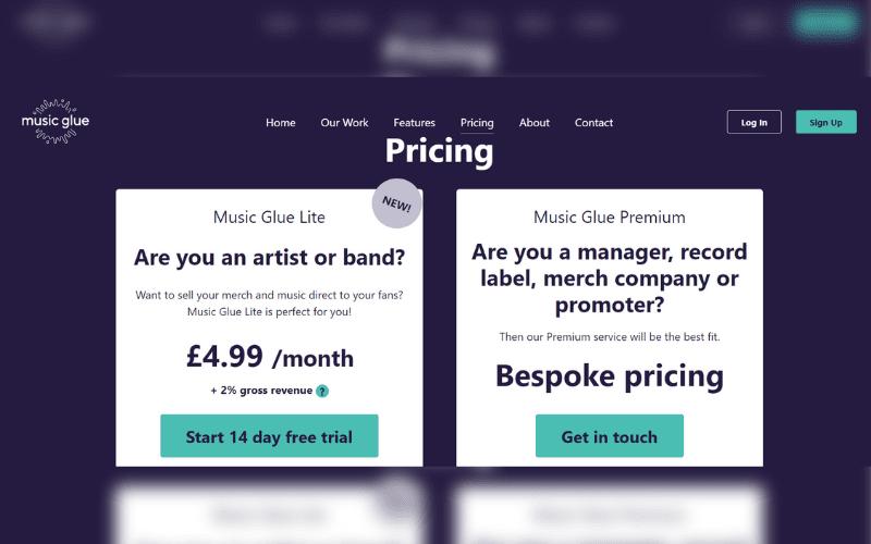musicglue.com pricing