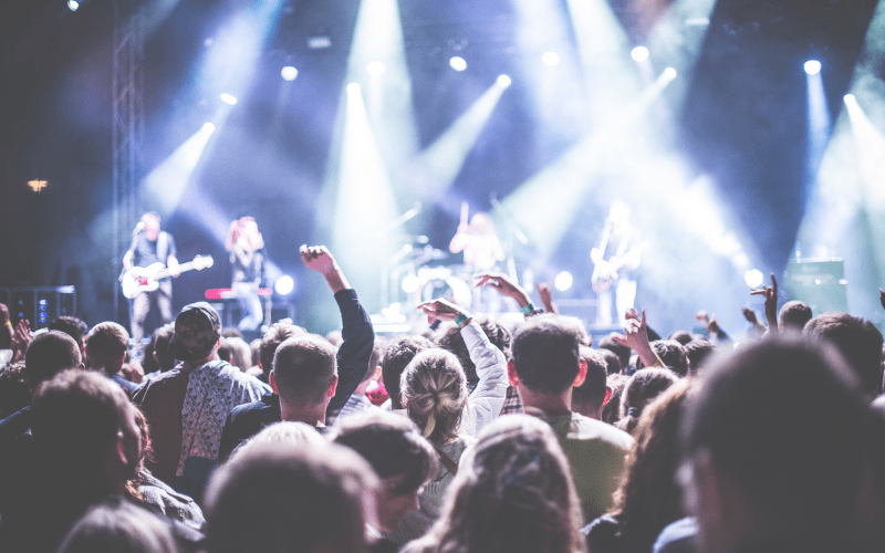 crowd at a concert stock photo