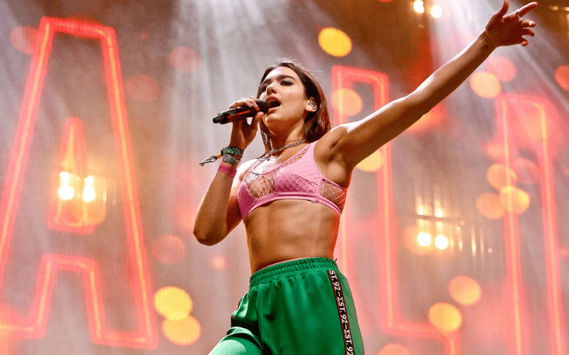 dua lipa performing on stage