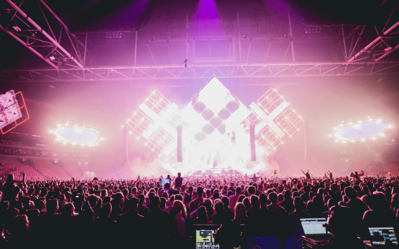 An audience watching a show at Amsterdam dance event.