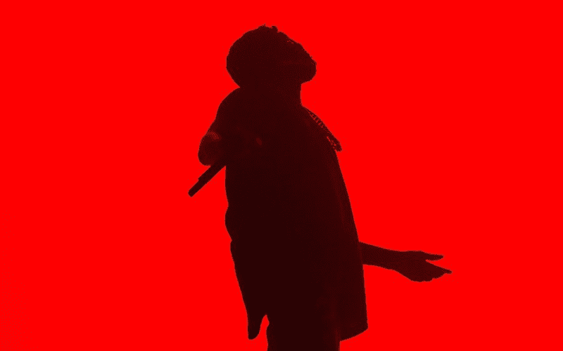 kanye west silhouette on stage