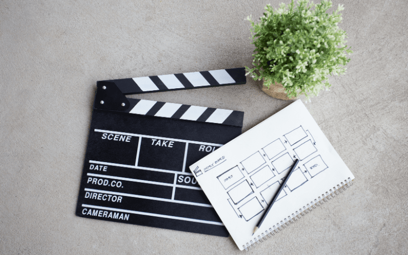 character study story board and clapboard