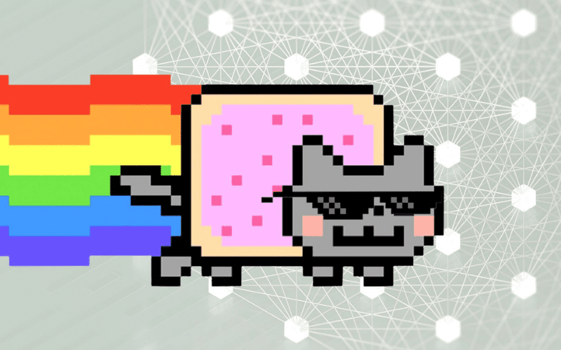 nyan cat nft non-fungible token with sunglasses