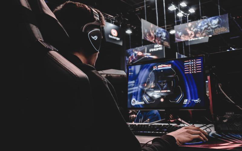 Man at gaming set up