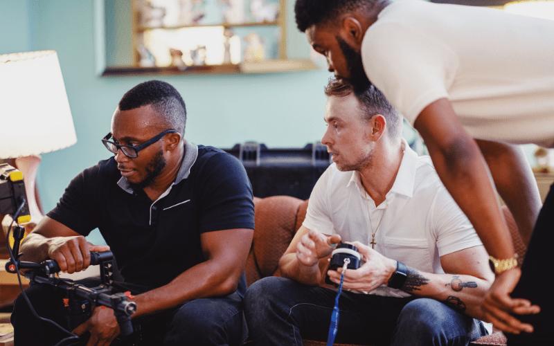 Three men gaming  unity