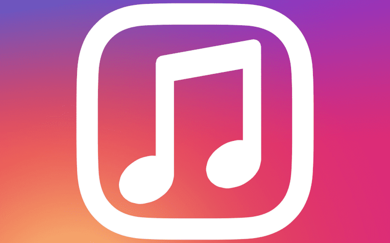 Instagram logo with a music note inside.
