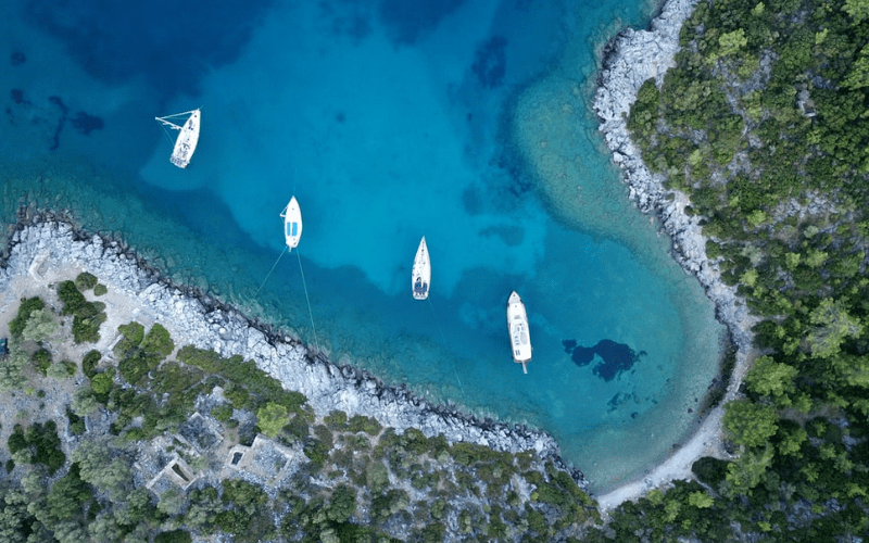 boats birds eye shot drone filming