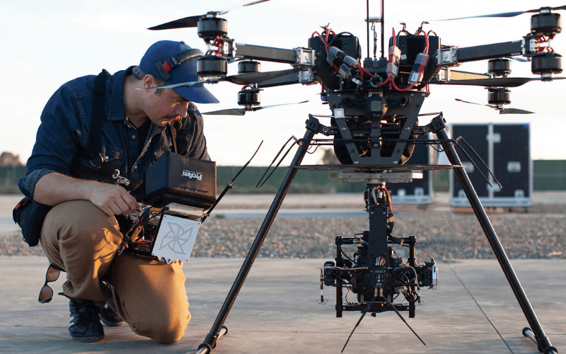 cinematographer with professional drone
