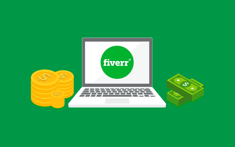Laptop with fiverr logo on the screen and money either side. fiverr.com.