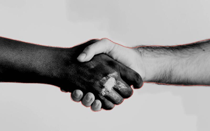 handshake on music split sheet