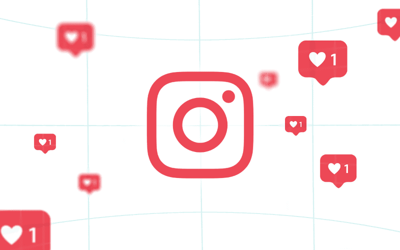 Red Instagram logo with likes popping up around.