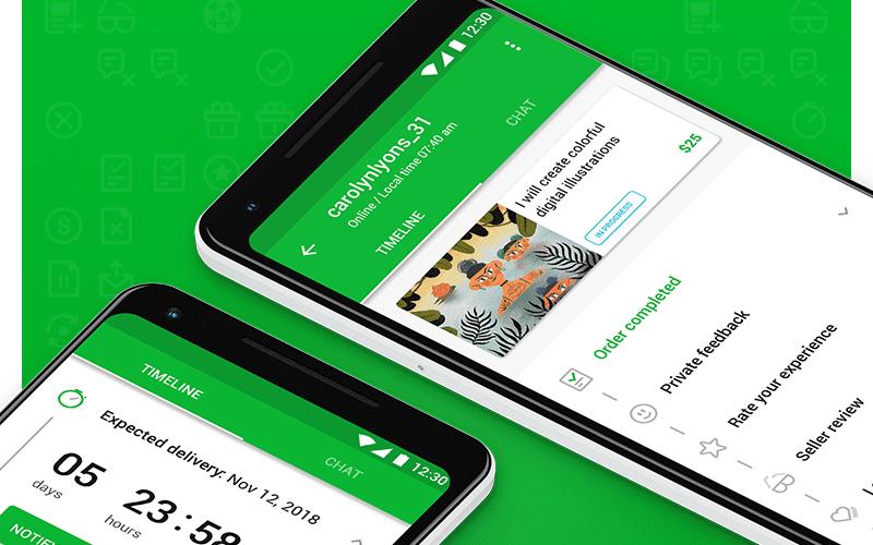 The Fiverr app. fiverr.com.