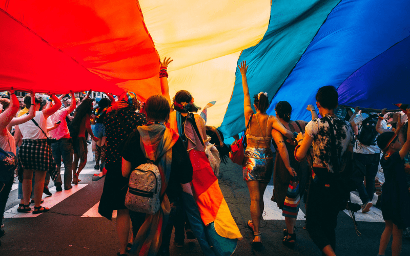 Pride event with flag