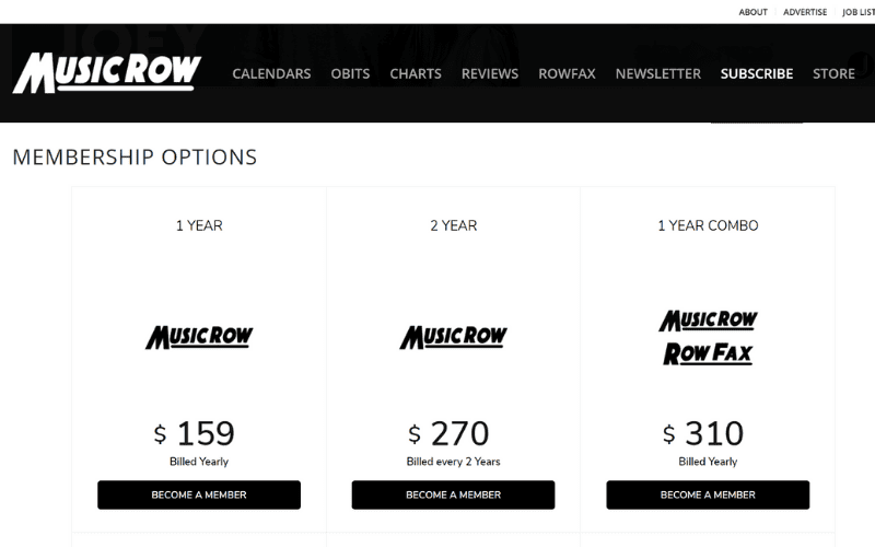 Music row subscription pricing