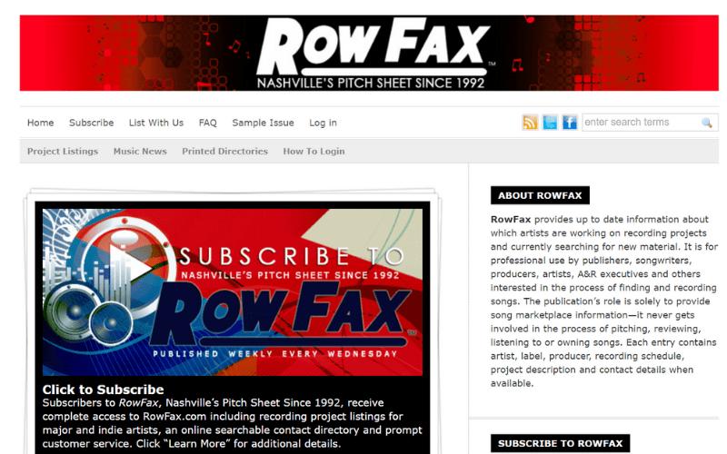 music row row fax web page