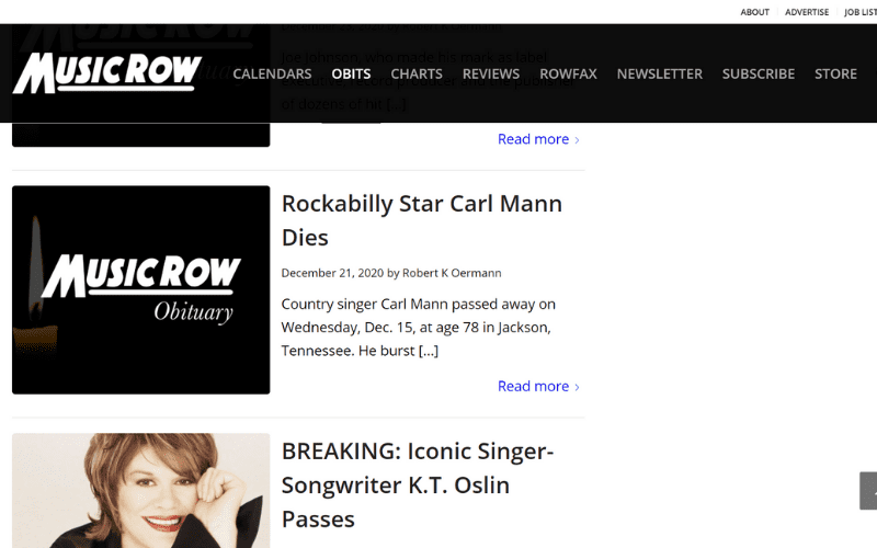Music Row Obits section