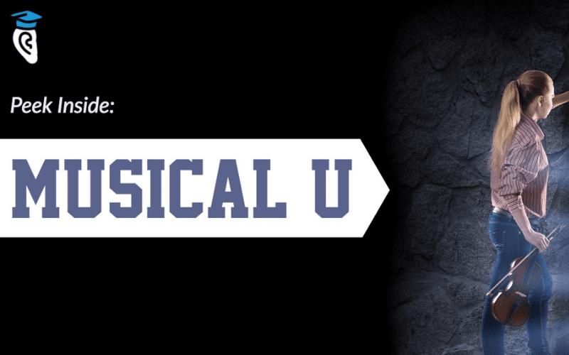 Musical u logo with violin