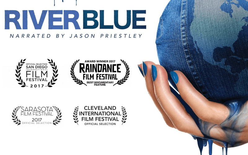 Riverblue film poster with awards shown.