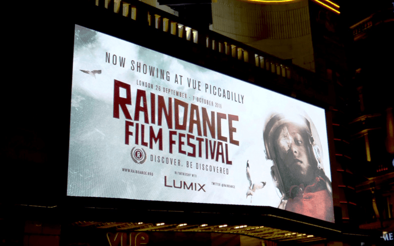 Raindance film festival notice board.